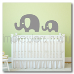 Elephants Vinyl Wall Decal - Set of 2