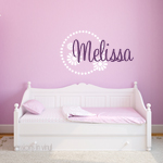 Girls Name Decal with Flower Border