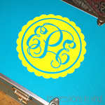 Scalloped Monogram Trunk Decal