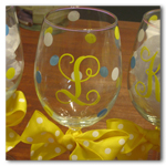 Polka Dot Bridesmaid Wine Glasses